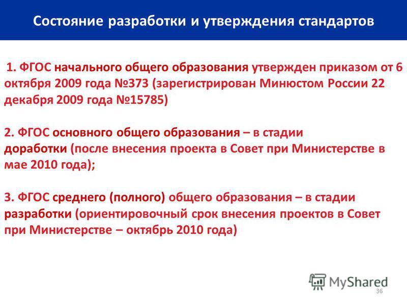 36 Состояние разработки и утверждения стандартов 1. ФГОС начального общего образования утвержден приказом от 6 октября 2009 года 373 (зарегистрирован Минюстом России 22 декабря 2009 года 15785) 2. ФГОС основного общего образования – в стадии доработк