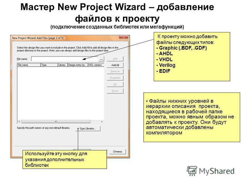 К проекту можно добавить файлы следующих типов: - Graphic (.BDF,.GDF) - AHDL - VHDL - Verilog - EDIF Файлы нижних уровней в иерархии описания проекта, находящиеся в рабочей папке проекта, можно явным образом не добавлять к проекту. Они будут автомати