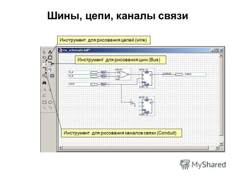 Шины, цепи, каналы связи Инструмент для рисования каналов связи (Conduit) Инструмент для рисования шин (Bus) Инструмент для рисования цепей (wire)