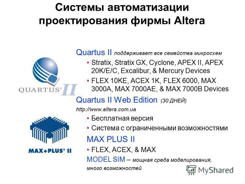 Системы автоматизации проектирования фирмы Altera Quartus II поддерживает все семейства микросхем Stratix, Stratix GX, Cyclone, APEX II, APEX 20K/E/C, Excalibur, & Mercury Devices FLEX 10KE, ACEX 1K, FLEX 6000, MAX 3000A, MAX 7000AE, & MAX 7000B Devi