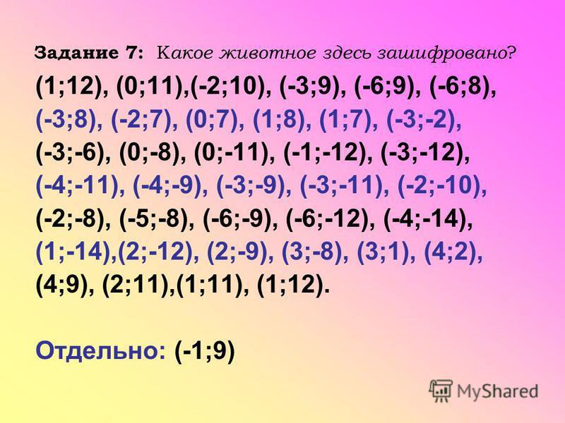 Задание 7: К акое животное здесь зашифровано ? (1;12), (0;11),(-2;10), (-3;9), (-6;9), (-6;8), (-3;8), (-2;7), (0;7), (1;8), (1;7), (-3;-2), (-3;-6), (0;-8), (0;-11), (-1;-12), (-3;-12), (-4;-11), (-4;-9), (-3;-9), (-3;-11), (-2;-10), (-2;-8), (-5;-8