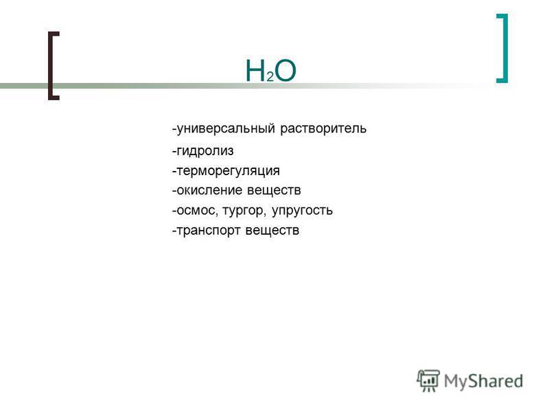 -универсальный растворитель -гидролиз -терморегуляция -окисление веществ -осмос, тургор, упругость -транспорт веществ H2OH2O
