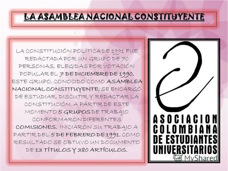 LA ASAMBLEA NACIONAL CONSTITUYENTE LA CONSTITUCIÓN POLÍTICA DE 1991 FUE REDACTADA POR UN GRUPO DE 70 PERSONAS, ELEGIDAS POR VOTACIÓN POPULAR EL 7 DE DICIEMBRE DE 1990. ESTE GRUPO, CONOCIDO COMO ASAMBLEA NACIONAL CONSTITUYENTE, SE ENCARGÓ DE ESTUDIAR,