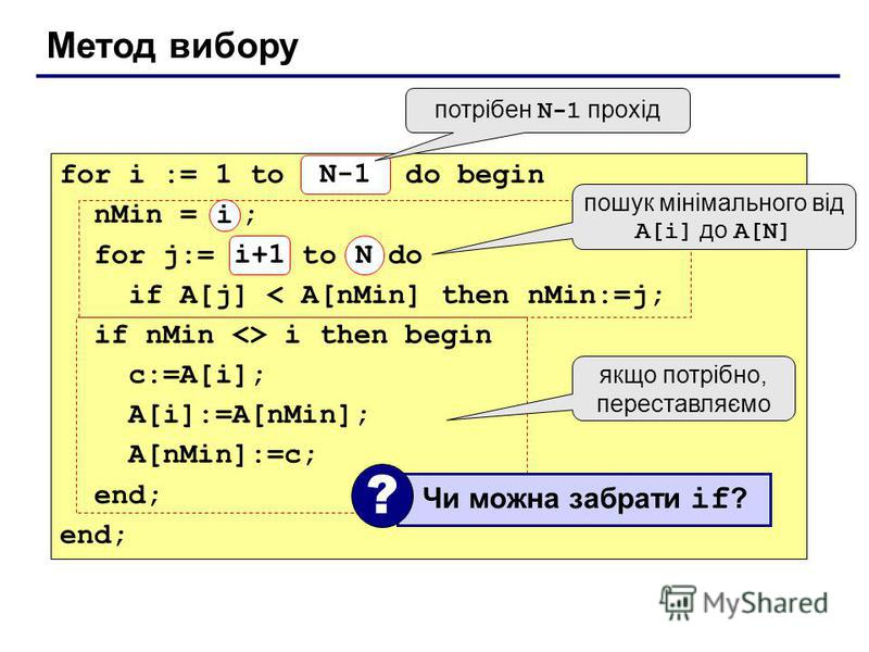 Метод вибору for i := 1 to N-1 do begin nMin = i ; for j:= i+1 to N do if A[j] < A[nMin] then nMin:=j; if nMin <> i then begin c:=A[i]; A[i]:=A[nMin]; A[nMin]:=c; end; N-1 N потрібен N-1 прохід пошук мінімального від A[i] до A[N] якщо потрібно, перес