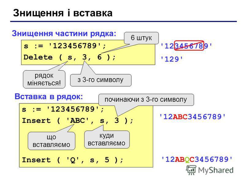 Знищення і вставка Знищення частини рядка: Вставка в рядок: s := '123456789'; Delete ( s, 3, 6 ); з 3-го символу 6 штук рядок міняється! '123456789' '129' s := '123456789'; Insert ( 'ABC', s, 3 ); Insert ( 'Q', s, 5 ); куди вставляємо що вставляємо п