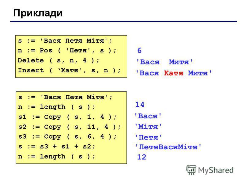 Приклади s := 'Вася Петя Мітя'; n := Pos ( 'Петя', s ); Delete ( s, n, 4 ); Insert ( Катя', s, n ); 'Вася Катя Митя' s := 'Вася Петя Мітя'; n := length ( s ); s1 := Copy ( s, 1, 4 ); s2 := Copy ( s, 11, 4 ); s3 := Copy ( s, 6, 4 ); s := s3 + s1 + s2;
