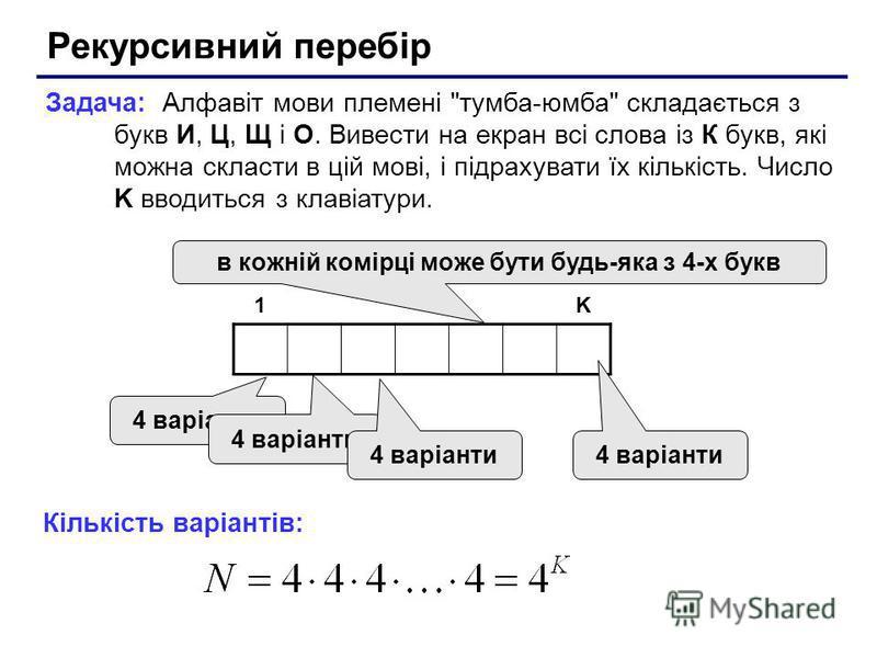 Рекурсивний перебір Задача: Алфавіт мови племені