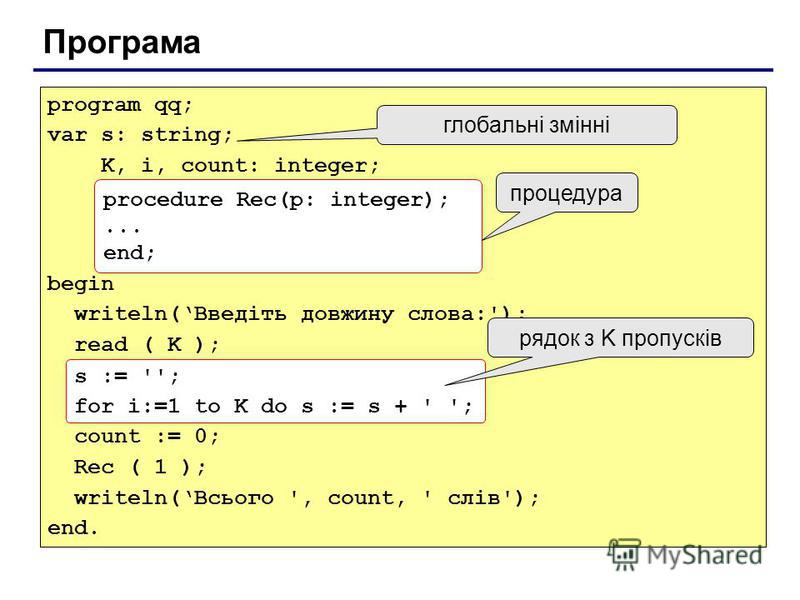 Програма program qq; var s: string; K, i, count: integer; begin writeln(Введіть довжину слова:'); read ( K ); s := ''; for i:=1 to K do s := s + ' '; count := 0; Rec ( 1 ); writeln(Всього ', count, ' слів'); end. procedure Rec(p: integer);... end; пр