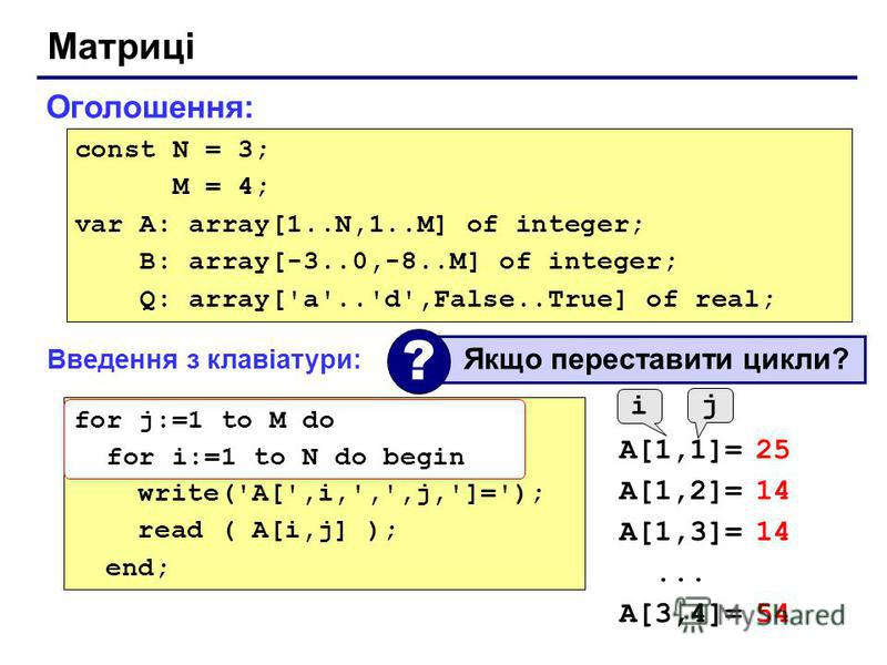 Матриці Оголошення: const N = 3; M = 4; var A: array[1..N,1..M] of integer; B: array[-3..0,-8..M] of integer; Q: array['a'..'d',False..True] of real; Введення з клавіатури: for i:=1 to N do for j:=1 to M do begin write('A[',i,',',j,']='); read ( A[i,