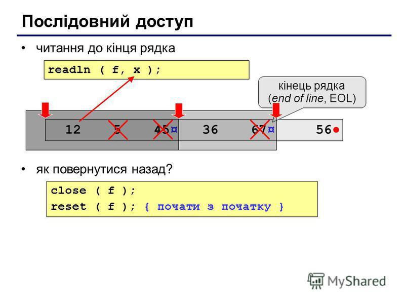 читання до кінця рядка як повернутися назад? Послідовний доступ close ( f ); reset ( f ); { почати з початку } readln ( f, x ); 12 5 45¤ 36 67¤ 56 кінець рядка (end of line, EOL)