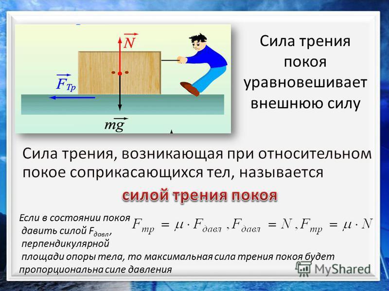 Сила трения покоя уравновешивает внешнюю силу Если в состоянии покоя давить силой F давл, перпендикулярной площади опоры тела, то максимальная сила трения покоя будет пропорциональна силе давления
