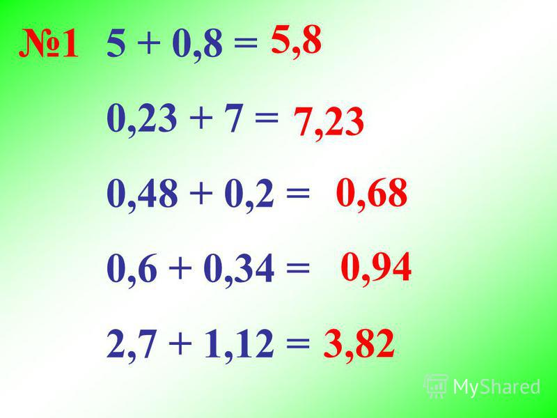 5 + 0,8 = 0,23 + 7 = 0,48 + 0,2 = 0,6 + 0,34 = 2,7 + 1,12 = 5,8 7,23 0,68 0,94 3,82 1