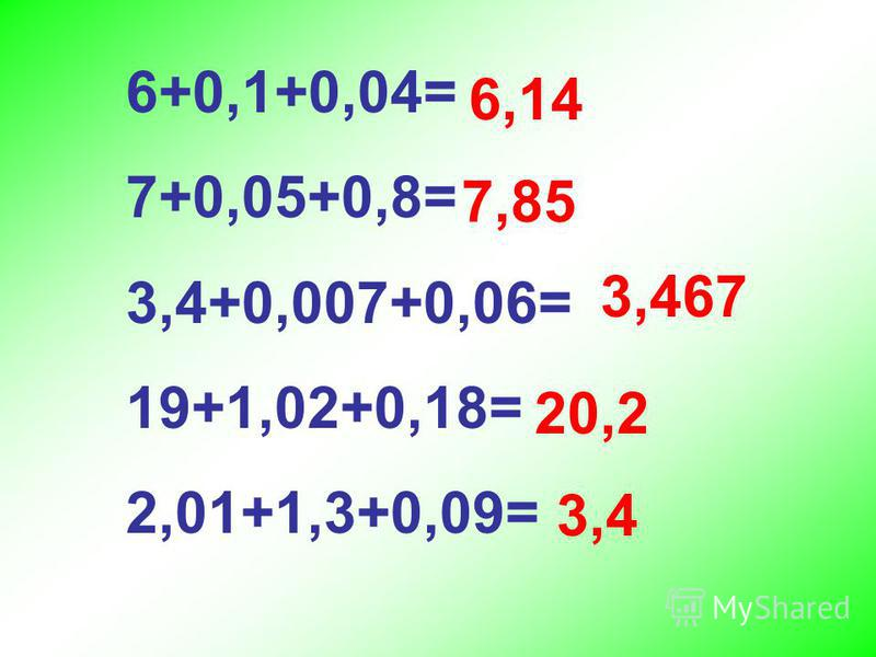 6+0,1+0,04= 7+0,05+0,8= 3,4+0,007+0,06= 19+1,02+0,18= 2,01+1,3+0,09= 6,14 7,85 3,467 20,2 3,4