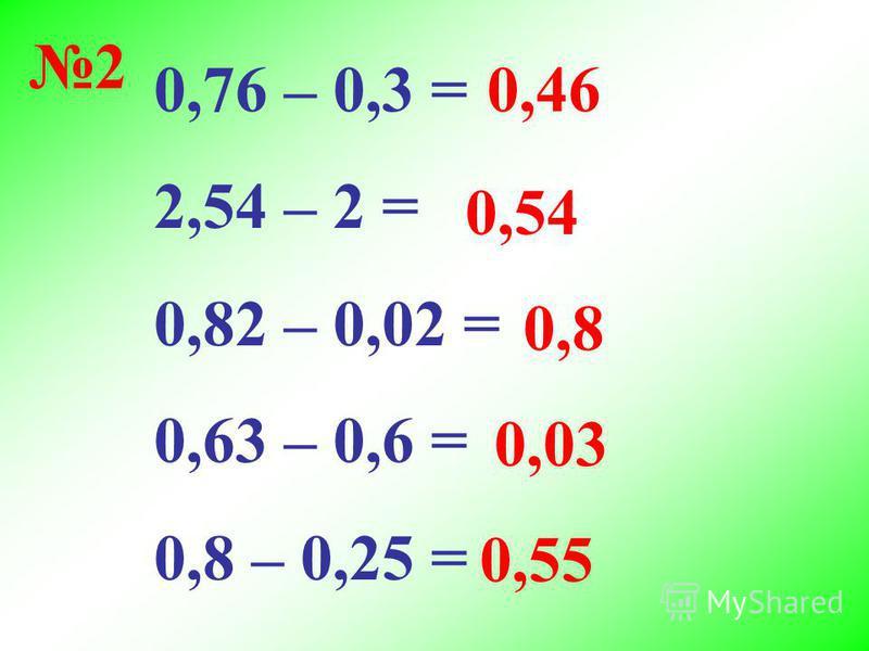 0,76 – 0,3 = 2,54 – 2 = 0,82 – 0,02 = 0,63 – 0,6 = 0,8 – 0,25 = 0,46 0,54 0,8 0,03 0,55 2