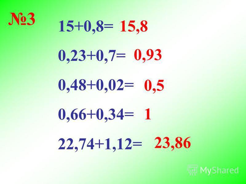 15+0,8= 0,23+0,7= 0,48+0,02= 0,66+0,34= 22,74+1,12= 15,8 0,93 0,5 1 23,86 3