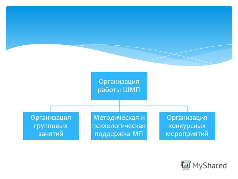 Организация работы ШМП Организация групповых занятий Методическая и психологическая поддержка МП Организация конкурсных мероприятий