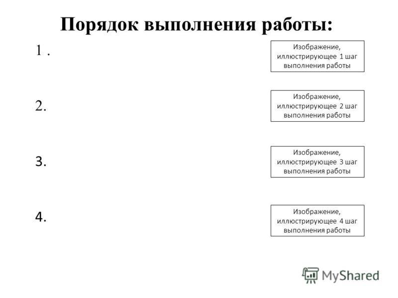 Изображение, иллюстрирующее 1 шаг выполнения работы 1. 2. 3. 4. Порядок выполнения работы: Изображение, иллюстрирующее 2 шаг выполнения работы Изображение, иллюстрирующее 3 шаг выполнения работы Изображение, иллюстрирующее 4 шаг выполнения работы