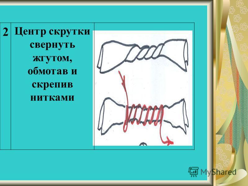 2 Центр скрутки свернуть жгутом, обмотав и скрепив нитками