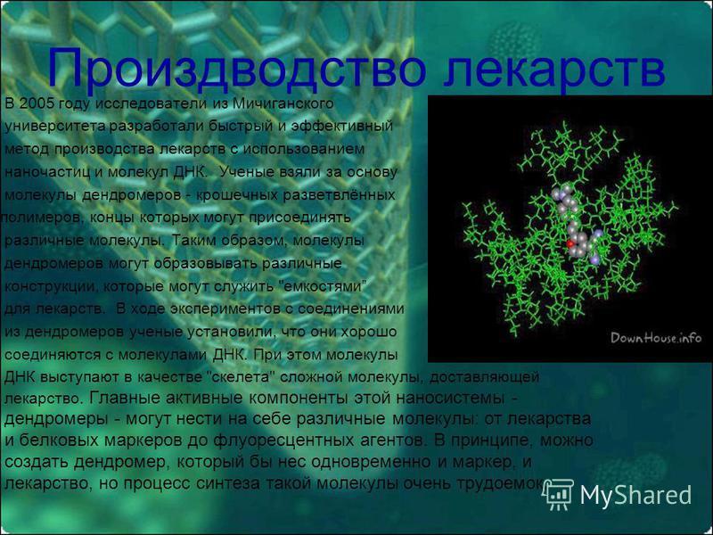 Произдводство лекарств В 2005 году исследователи из Мичиганского университета разработали быстрый и эффективный метод производства лекарств с использованием наночастиц и молекул ДНК. Ученые взяли за основу молекулы дендрометров - крошечных разветвлён