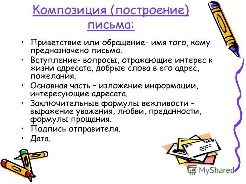 Композиция (построение) письма: Приветствие или обращение- имя того, кому предназначено письмо. Вступление- вопросы, отражающие интерес к жизни адресата, добрые слова в его адрес, пожелания. Основная часть – изложение информации, интересующие адресат
