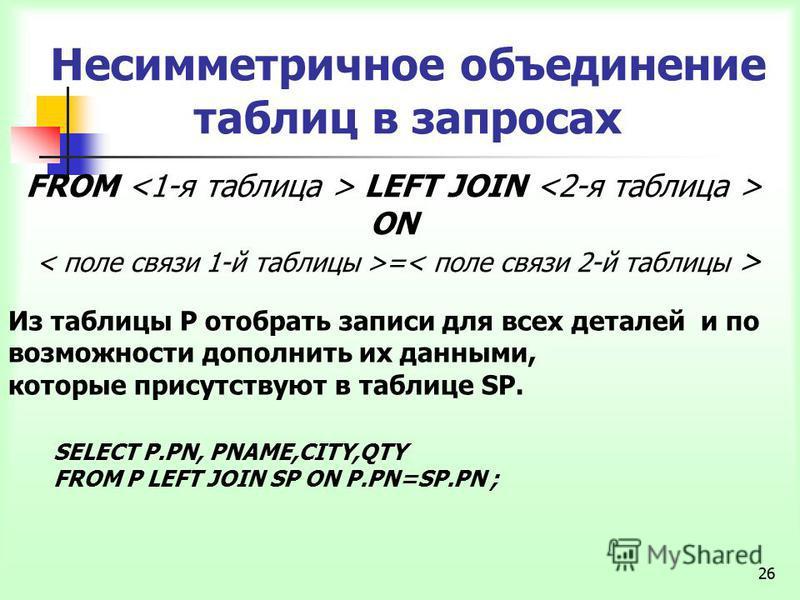 26 Несимметричное объединение таблиц в запросах FROM LEFT JOIN ON = Из таблицы P отобрать записи для всех деталей и по возможности дополнить их данными, которые присутствуют в таблице SP. SELECT P.PN, PNAME,CITY,QTY FROM P LEFT JOIN SP ON P.PN=SP.PN