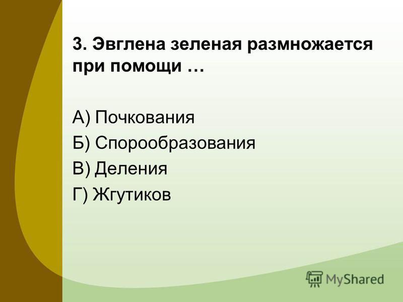 3. Эвглена зеленая размножается при помощи … А) Почкования Б) Спорообразования В) Деления Г) Жгутиков