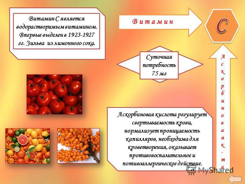 В и т а м и н Витамин С является водорастворимым витамином. Впервые выделен в 1923-1927 гг. Зильва из лимонного сока. Суточная потребность 75 мг Аскорбиноваяк-та Аскорбиноваяк-та Аскорбиновая кислота регулирует свертываемость крови, нормализует прони
