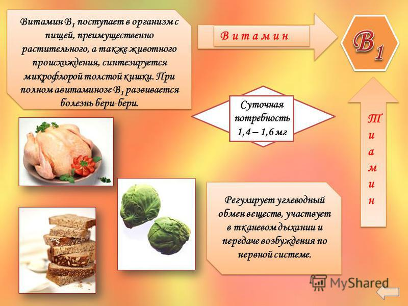 В и т а м и н Суточная потребность 1,4 – 1,6 мг Тиамин Тиамин Витамин B 1 поступает в организм с пищей, преимущественно растительного, а также животного происхождения, синтезируется микрофлорой толстой кишки. При полном авитаминозе B 1 развивается бо