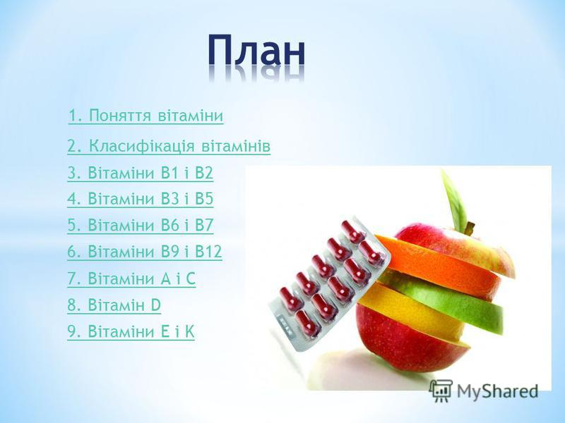 1. Поняття вітаміни 2. Класифікація вітамінів 3. Вітаміни В1 і В2 4. Вітаміни В3 і В5 5. Вітаміни В6 і В7 6. Вітаміни В9 і В12 7. Вітаміни А і С 8. Вітамін D 9. Вітаміни E і K