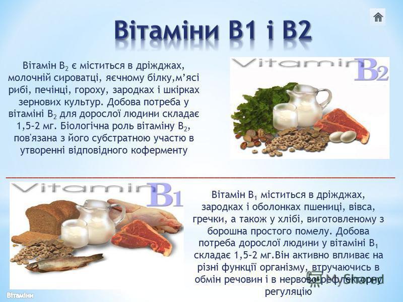 Вітамін В 2 є міститься в дріжджах, молочній сироватці, яєчному білку,мясі рибі, печінці, гороху, зародках і шкірках зернових культур. Добова потреба у вітаміні В 2 для дорослої людини складає 1,5–2 мг. Біологічна роль вітаміну В 2, пов'язана з його