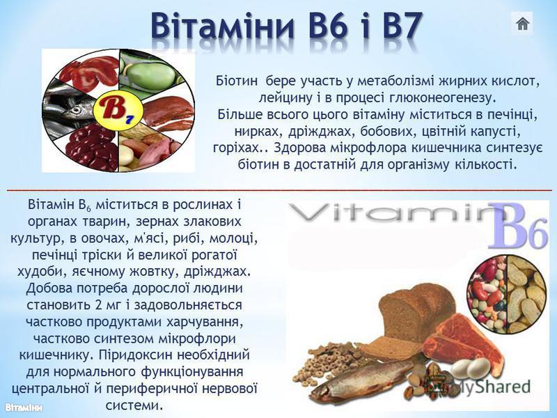 Вітамін В 6 міститься в рослинах і органах тварин, зернах злакових культур, в овочах, м'ясі, рибі, молоці, печінці тріски й великої рогатої худоби, яєчному жовтку, дріжджах. Добова потреба дорослої людини становить 2 мг і задовольняється частково про
