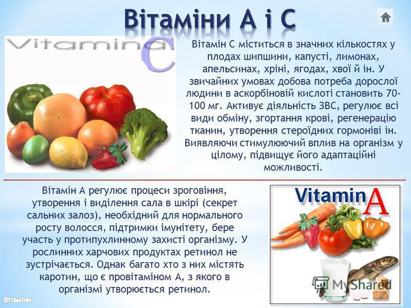 Вітамін С міститься в значних кількостях у плодах шипшини, капусті, лимонах, апельсинах, хріні, ягодах, хвої й ін. У звичайних умовах добова потреба дорослої людини в аскорбіновій кислоті становить 70– 100 мг. Активує діяльність ЗВС, регулює всі види