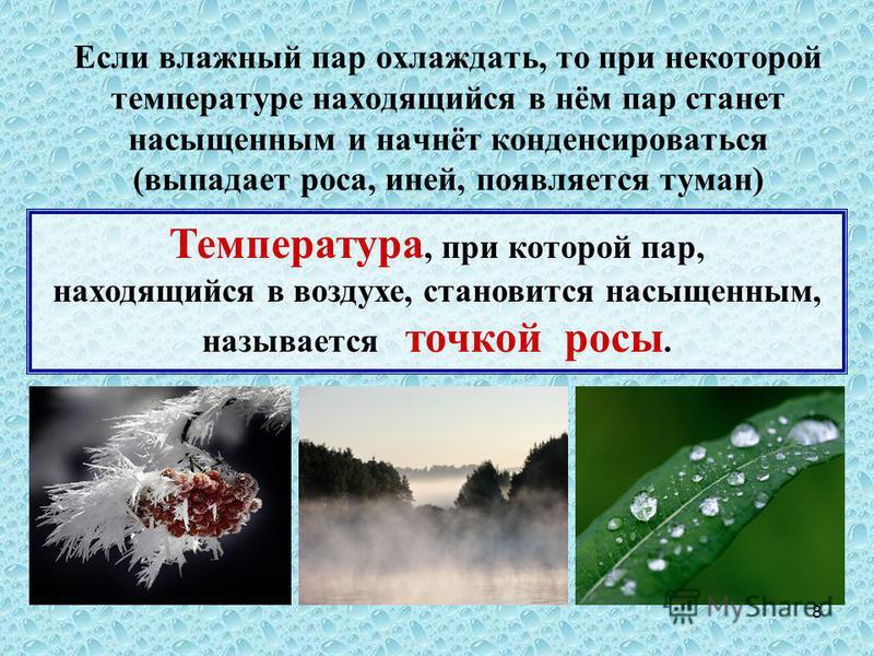 8 Если влажный пар охлаждать, то при некоторой температуре находящийся в нём пар станет насыщенным и начнёт конденсироваться (выпадает роса, иней, появляется туман) Температура, при которой пар, находящийся в воздухе, становится насыщенным, называетс