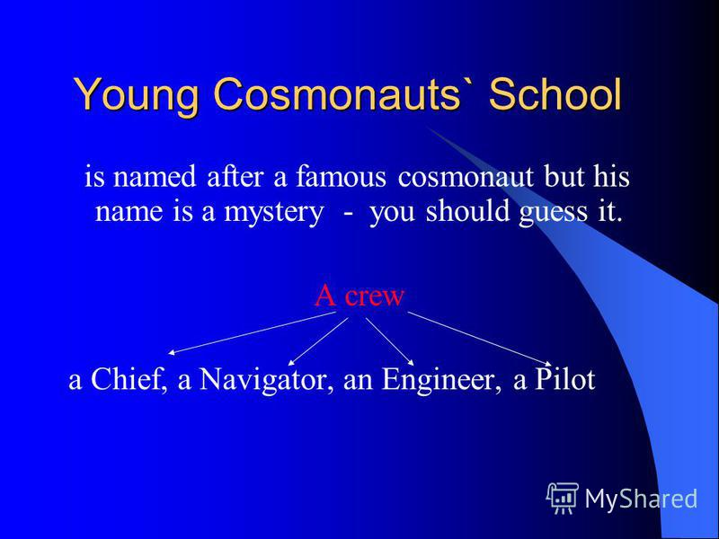 Young Cosmonauts` School Young Cosmonauts` School is named after a famous cosmonaut but his name is a mystery - you should guess it. A crew a Chief, a Navigator, an Engineer, a Pilot