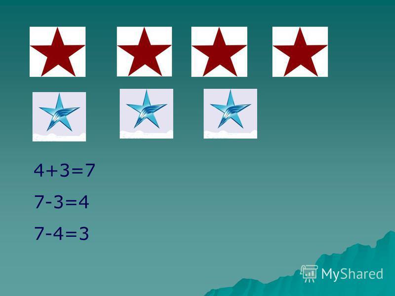 4+3=7 7-3=4 7-4=3