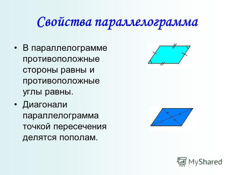 Свойства параллелограмма В параллелограмме противоположные стороны равны и противоположные углы равны. Диагонали параллелограмма точкой пересечения делятся пополам.