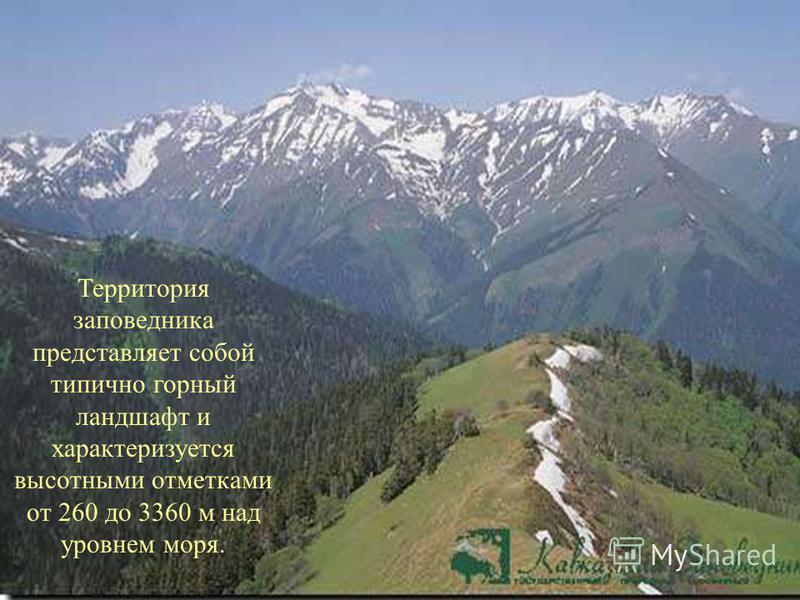 Территория заповедника представляет собой типично горный ландшафт и характеризуется высотными отметками от 260 до 3360 м над уровнем моря.