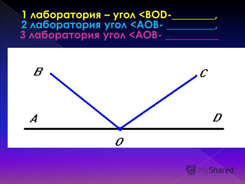 1 лаборатория – угол <BOD-________, 2 лаборатория угол <AOB- _________, 3 лаборатория угол <AOB- __________