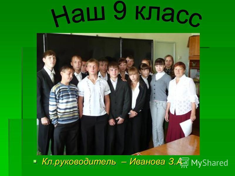 Кл.руководитель – Иванова З.А Кл.руководитель – Иванова З.А