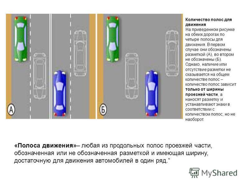 «Полоса движения»– любая из продольных полос проезжей части, обозначенная или не обозначенная разметкой и имеющая ширину, достаточную для движения автомобилей в один ряд. Количество полос для движения На приведенном рисунке на обеих дорогах по четыре