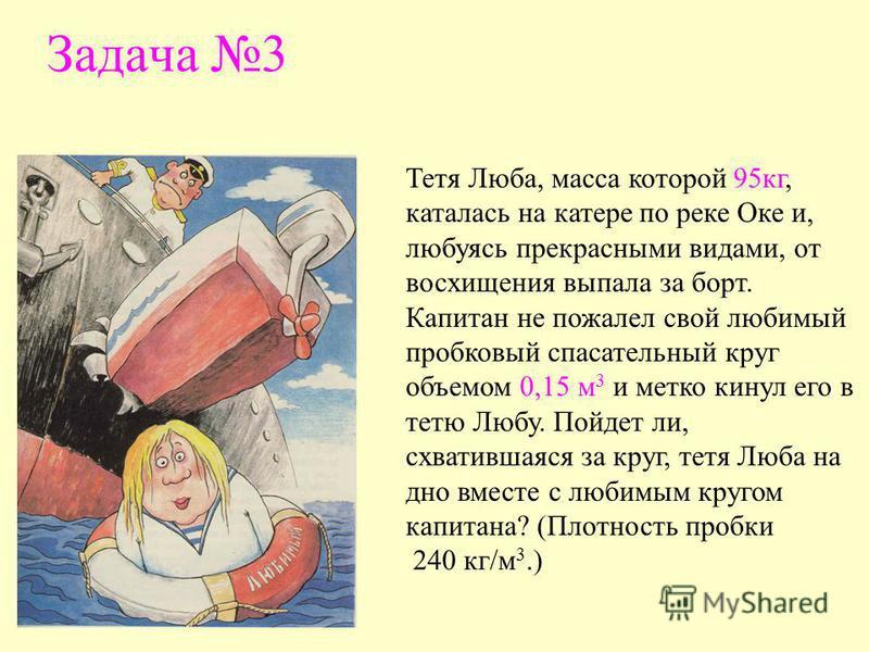 Задача 3 Тетя Люба, масса которой 95 кг, каталась на катере по реке Оке и, любуясь прекрасными видами, от восхищения выпала за борт. Капитан не пожалел свой любимый пробковый спасательный круг объемом 0,15 м 3 и метко кинул его в тетю Любу. Пойдет ли