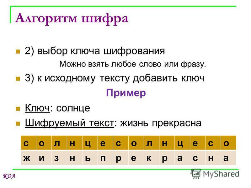 КОА Алгоритм шифра 2) выбор ключа шифрования Можно взять любое слово или фразу. 3) к исходному тексту добавить ключ Пример Ключ: солнце Шифруемый текст: жизнь прекрасна солнце солнце со жизнь прекрасна