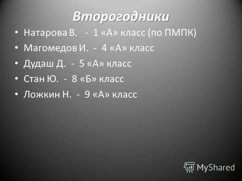 Второгодники Натарова В. - 1 «А» класс (по ПМПК) Магомедов И. - 4 «А» класс Дудаш Д. - 5 «А» класс Стан Ю. - 8 «Б» класс Ложкин Н. - 9 «А» класс