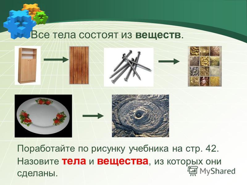 Все тела состоят из веществ. Поработайте по рисунку учебника на стр. 42. Назовите тела и вещества, из которых они сделаны.