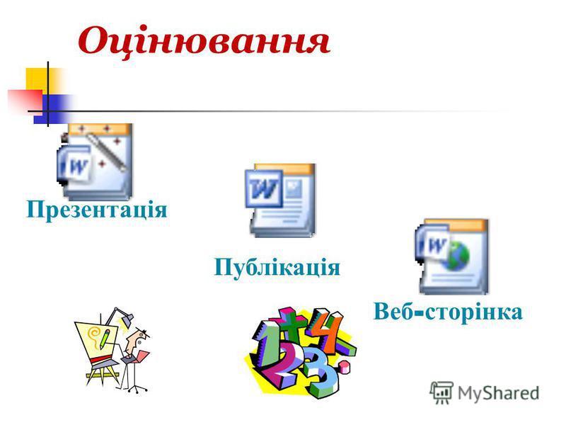 Оцінювання Презентація Публікація Веб - сторінка