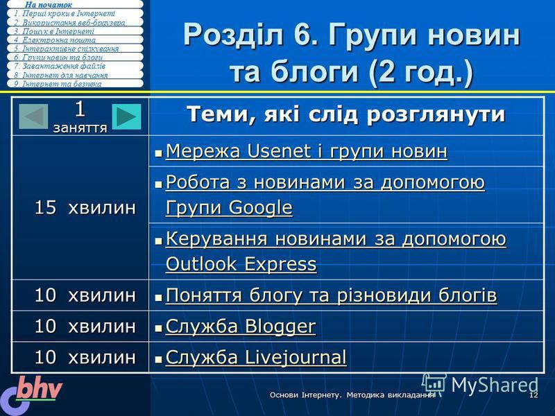 2. Використання веб-браузера 3. Пошук в Інтернеті 4. Електронна пошта 5. Інтерактивне спілкування 1. Перші кроки в Інтернеті На початок На початок 6. Групи новин та блоги 7. Завантаження файлів 8. Інтернет для навчання 9. Інтернет та безпека Основи І