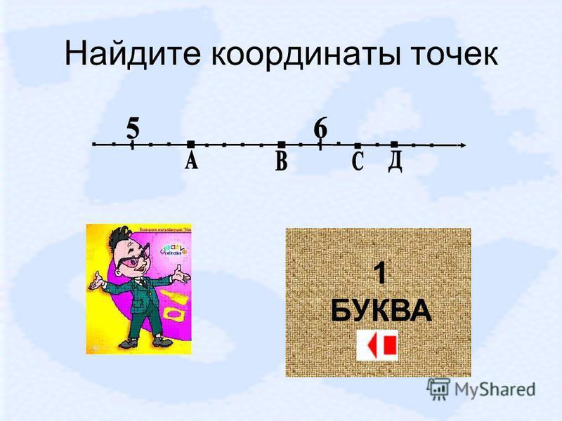 Найдите координаты точек 1 БУКВА