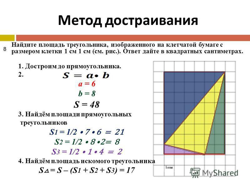 Метод достраивания Найдите площадь треугольника, изображенного на клетчатой бумаге с размером клетки 1 см 1 см (см. рис.). Ответ дайте в квадратных сантиметрах. 1. Достроим до прямоугольника. 2. а = 6 b = 8 S = 48 3. Найдём площади прямоугольных треу