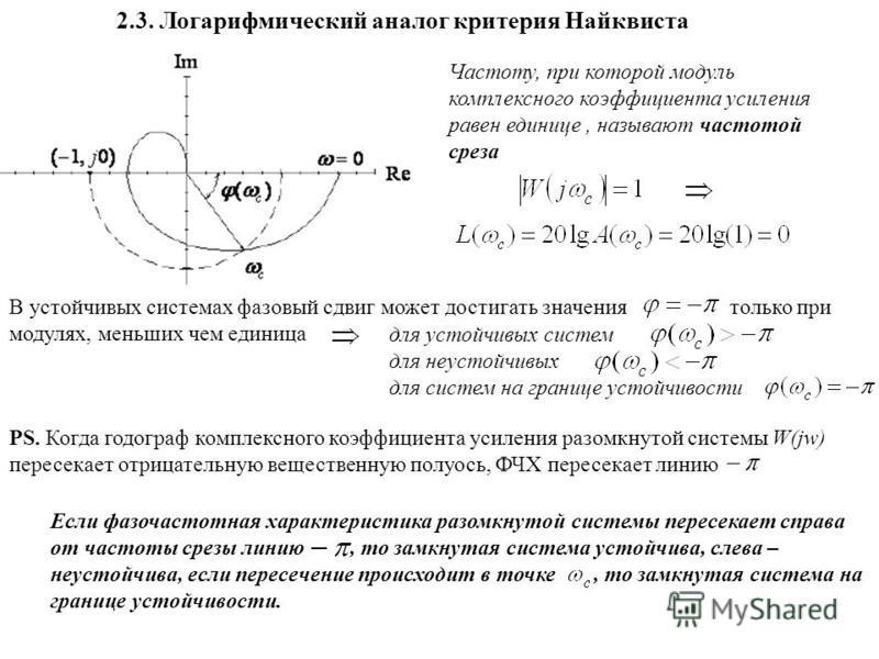 2.3. Логарифмический аналог критерия Найквиста Частоту, при которой модуль комплексного коэффициента усиления равен единице, называют частотой среза В устойчивых системах фазовый сдвиг может достигать значения только при модулях, меньших чем единица