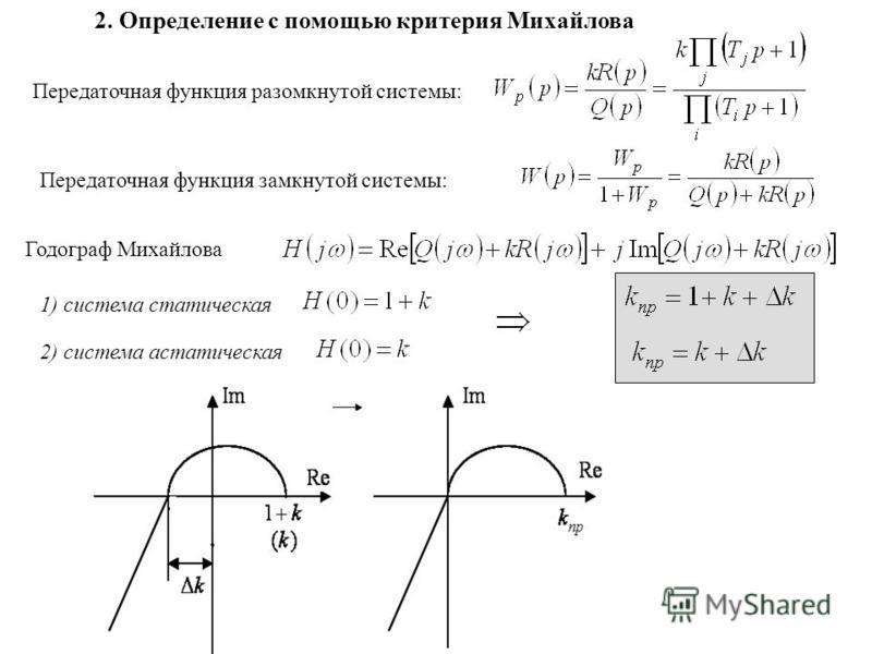 2. Определение с помощью критерия Михайлова Передаточная функция разомкнутой системы: Передаточная функция замкнутой системы: Годограф Михайлова 1) система статическая 2) система астатическая
